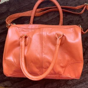 Orange H&M satchel with adjustable shoulder strap